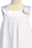 Girls White Chiffon Shift Dress with Satin Trimmed Yoke Bodice  KD255