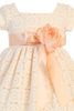 Peach Lace Tulle Overlay Satin Easter Spring Dress w Satin Sash Girls (M707)