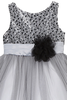 Girls Silver & Black Sequined Party Dress w. Tulle Skirt KD328