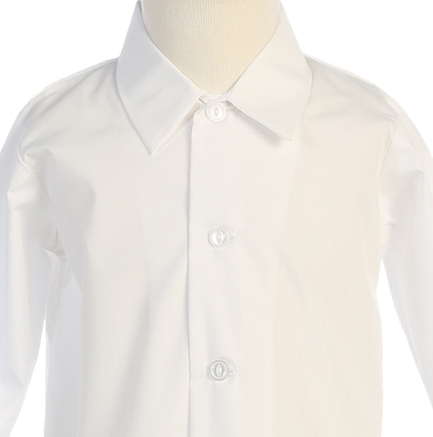 Boys Ivory Long Sleeve Button Down Dress Shirt  810