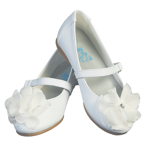 633c33b22 White Dress Shoes with a Flower on Toe Baby Girls – Rachel s Promise
