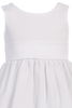 White Cotton Seersucker Girls Easter Spring Dress w PolySilk Sash (M642)