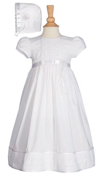 Floral Lace & 100% Cotton Handmade Christening Dress (CO76GS)