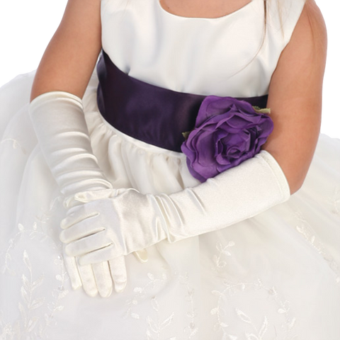 Satin Long Elbow Length Gloves Formal or Dress Girls (LGLOVE)
