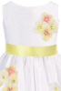 Yellow Dimensional Flowers on White Shantung Baby Girls Dress (219-F)