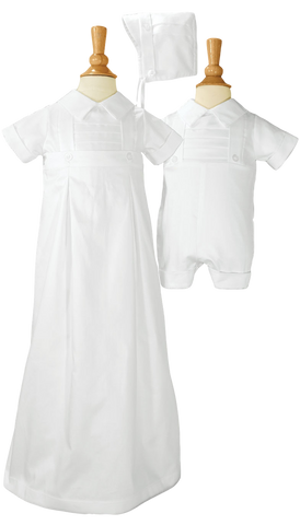 3 Pc Romper, Skirt & Hat Cotton Sateen Handmade Convertible Christening Outfit Baby Boys (CB425G)