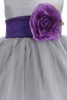 Silver Tulle & Poly Silk Blossom Flower Girls Dress with Purple Sash (BL228)