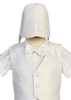 Boys Satin Baptism Shorts Set w. Textured Striped Vest & Hat  8460