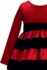 Red Velvet & Black Striped Taffeta Girls Holiday Dress  C949