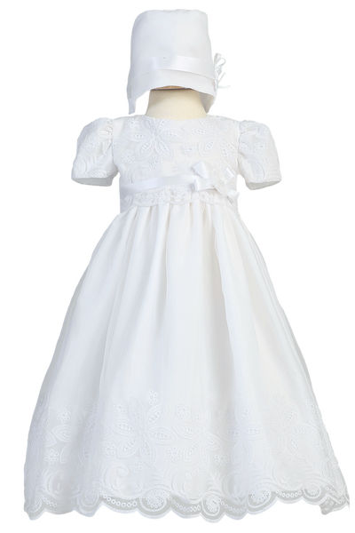 Floral Eyelet Embroidered Baby Girls White Organza Baptism Dress Candice