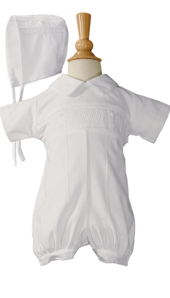 Hand Smocked Cotton Boys Baptism Romper w. Pin Tucking  CB938R