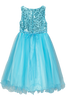 Aqua Blue Sequins, Satin & 2 Layer Mesh Girls Formal Occasion Dress (305)