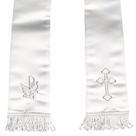 Silver Cross & Dove Embroidery Satin Christening Shawl (SS-1)
