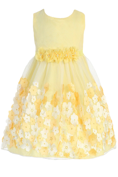 Tulle & Yellow Satin Baby Girl Dress w 3D Flowers (333)