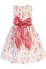 Girls Dusty Rose Floral Print Cotton Dress w Satin Sash M728