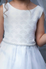 Organza Overlay First Holy Communion Dress w Fan Design Bodice in White or Ivory (Girls Size 4 to 14)