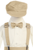 Boys Khaki Tan Linen Blend Suspender Knicker Shorts Set  G827