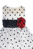 White Satin & Black Polka Dot Organza Baby Dress (247)