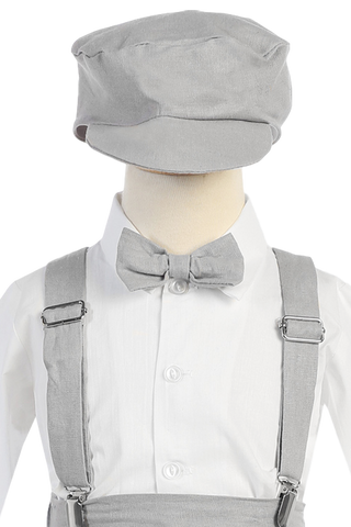 Light Grey Linen Suspender Knickers 5 Pc Spring Outfit Baby Boys (G827)
