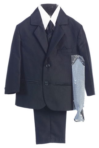 Navy Blue Herringbone Weave Complete Dress Suit Boys (3805)
