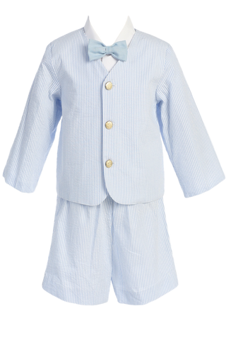 Light Blue Seersucker Eton Jacket & Shorts Spring Outfit Little Boys (G819)