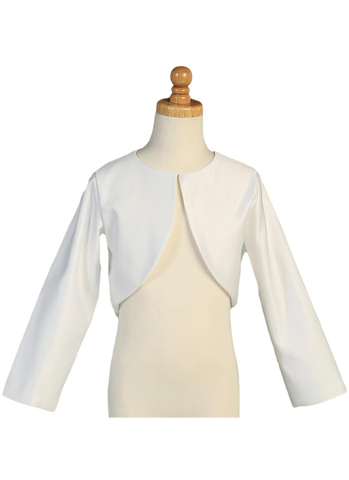 Girls White Long Sleeve Satin Bolero Jacket