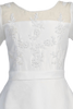 Organza Girls Communion Dress w. Floral Illusion Neckline & Bridal Buttons  SP813