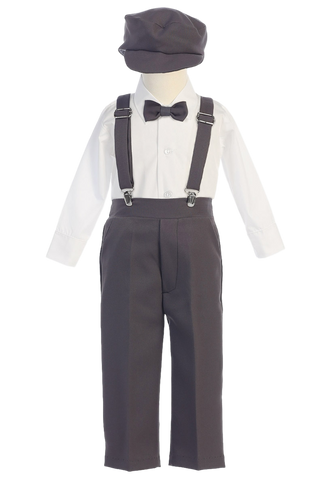 Charcoal Grey Suspender Pants, Long Sleeve 5 Pc Outfit with Cap Boys (G829)