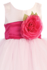 Pink Tulle & Poly Silk Blossom Flower Girls Dress w Fuchsia Sash (BL228)