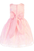 BACK OF Pink Satin & Burnout Organza Overlay Spring Easter Dress Girls (M729)