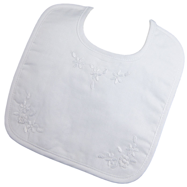 Floral Embroidered White Cotton Handmade Bib Baby Girls (1CAGXB)