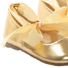 Gold Ballet Flats Girls Dress Shoes with Ribbon Tie (BS004)