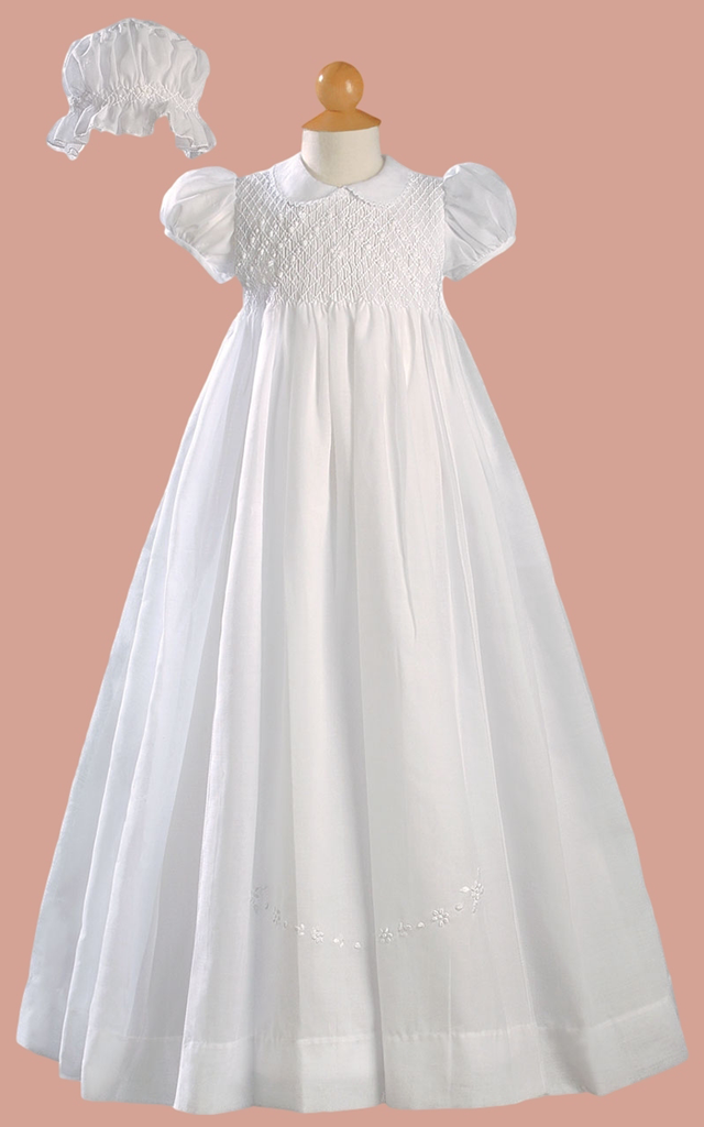 Smocked Bodice & Embroidered Cotton Heirloom Christening Gown Baby ...