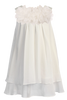 Ivory Chiffon Shift Dress Tier Hem & Mesh Flowers Girls (255F)