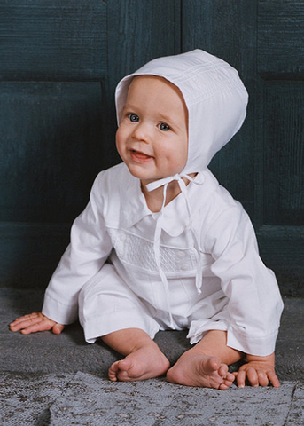 100% Hand Smocked Cotton Boys Baptism Coverall w. Pin Tucking  CB9381