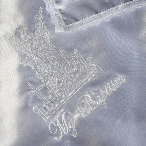 Guardian Angel Embroidery Satin Christening Blanket (B-300)