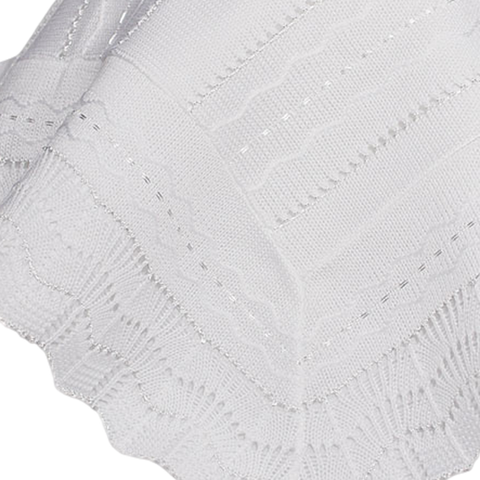 Infants White Acrylic Knit Shawl Blanket w. Wave Pattern ASHAWL2