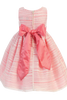 Back of Coral Striped Organza Overlay Girls Easter Dress (M724)