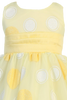 Yellow Satin with Glitter Polka Dot Tulle Girls Easter Spring Dress (M680)