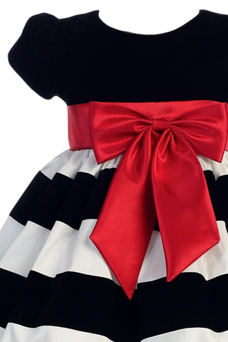 Black Velvet & White Flocked Taffeta Girls Christmas Holiday Dress (C925)