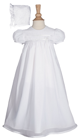 Lace & Tricot Overlay Cotton Handmade Christening Dress (TR20GS)
