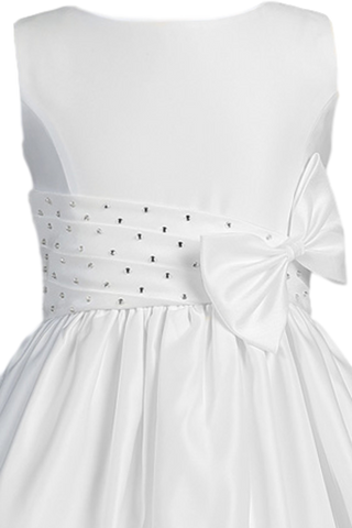 Satin, Shantung & Rhinestones White First Holy Communion Dress (SP961)