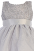 Silver Tulle Overlay & Cord Embroidered Girls Christmas Holiday Dress  (C505)