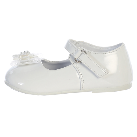 White Dress Shoes w Velcro Strap & Flower Baby Girls (Joyce)