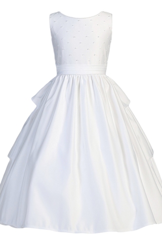 Tiered Back Ruffles & Pearl Beads Satin First Holy Communion Dress (SP853)