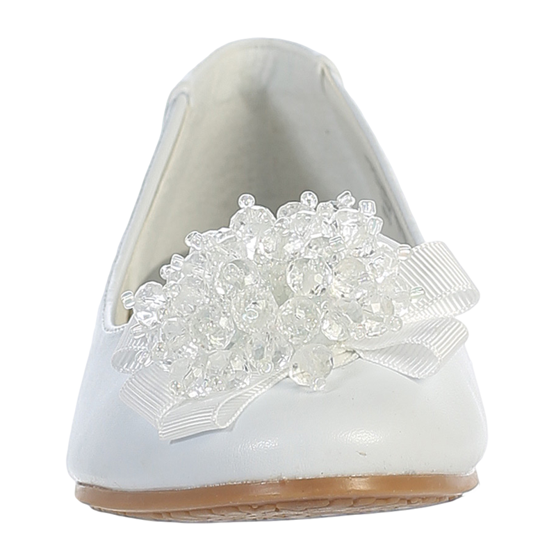 White Dress Shoes W Crystal Cluster Amp Bow On Toe Girls