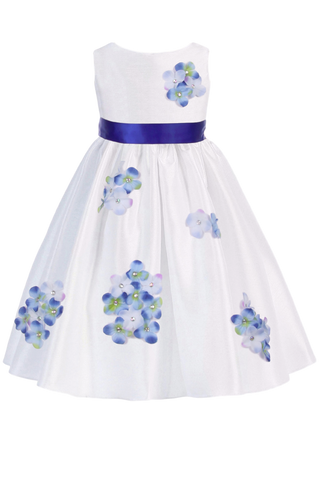 Blue Dimensional Flowers on White Shantung Baby Girls Dress (219-F)