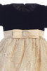 Gold Corded Tulle & Black Velvet Girls Christmas Holiday Dress (C997)