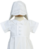 White Cotton Boys Baptism Coverall Set Pintucked & Pleated  Garvin