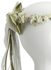 Sage Silk Floral Crown Wreath w Back Satin Bows Girls (HB007)